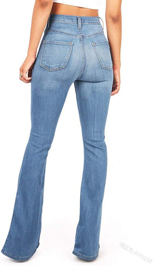 HCNTES Women Jeans High Waist, Women Summer Plus Size Jeans Denim High Waist Hole Stretch Slim Pants Trouser