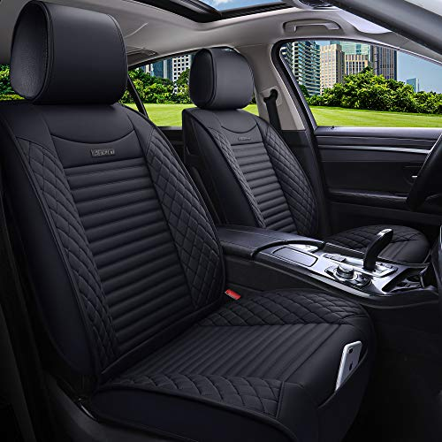 Aierxuan 5 Car Seat Covers Full Set Waterproof Leather Seat Protectors Car Cushion Covers for Auto Universal Truck SUV Sedan (Full Set/Black)