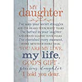 Daughter Wood Plaque with Inspiring Quotes 6x9 - Classy Vertical Frame Wall & Tabletop Decoration   Easel & Hanging Hook   Christian Family Religious Home Decor Saying   My Daughter
