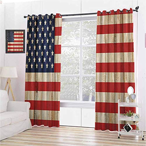 American Flag USA 100% Blackout Lining Curtain Independence Day Concept and Damaged Wooden Fence with USA Flag Pattern Full Shading Treatment Kitchen Insulation Curtain W63 x L72 Inch Red Blue