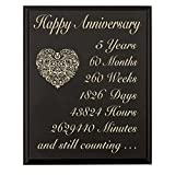 LifeSong Milestones 5th Wedding Anniversary Wall Plaque Gifts for Couple 5 Year for Her, Fifth Wedding for Him Wall Plaque (Black, 12' x 15')