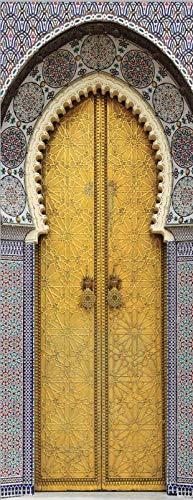 Gtfzjb 3D Tür Aufkleber Mosaik Tür Wallpaper Foto Wandbild Grau Marokkanisch Orientalischer Eingang Wallpaper