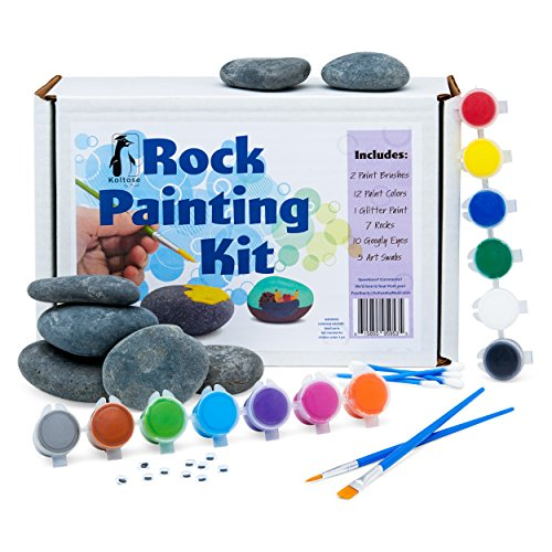 Deluxe Rock Painting Kit for Kids, Kindness Rock Painting Supplies Set, River Rock Arts and Crafts Projects for Girls and Boys, Rock Painting Kit with Rocks
