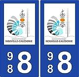 2 Stickers plaque d'immatriculation auto 988 Nouvelle-Calédonie - Gouvernement