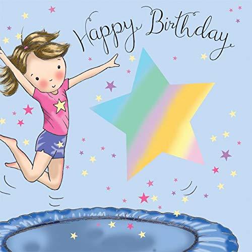 Twizler - Tarjeta de cumpleaños con cama elástica, tarjeta de cumpleaños para niñas - Tarjeta de cumpleaños para niña - Tarjeta de cumpleaños para niña - Tarjeta de cumpleaños deportiva