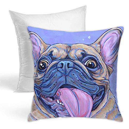 FLDONG Cojín de doble cara con pintura inteligente de perro carlino para el hogar, cojín decorativo para sofá, hogar, funda de almohada con cremallera, 45,7 x 45,7 cm