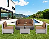 SUNCROWN 5 Piece Patio Outdoor Furniture Sets, All-Weather Grey Wicker Sectional Sofa with Glass Table (Denim Blue Cushion)
