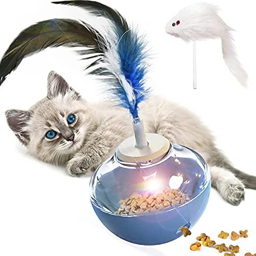 GingerUPer Katzenspielzeug,Katzenspielzeug Intelligenz,Interaktives Katzenspielzeug Ball,Snackball Katze Katzenspielwaren Haustier Katze Lernspielzeug (Blau)