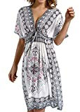 Avacoo Damen Strandponcho V Ausschnitt Blumen Sommerkleid Midi Kleid Pareos Marokko Weiß