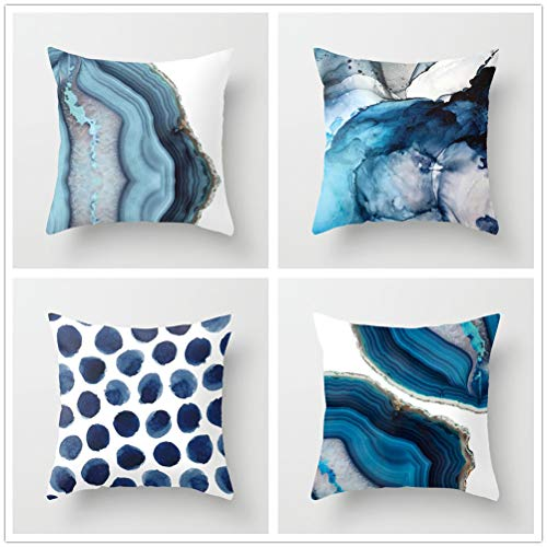 Jingle Pack of 4 Throw Pillow Covers Navy Blue Watercolor Ink Flower Marble Rain and Geometry Crystal Texture Pattern Cushion Covers Home Decorative Pillow Case for Sofa Car Bedroom
