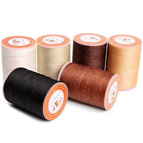 FANDOL Waxed Polyester Cord Wax-Coated Strings Waterproof Round Wax Coated Thread for Braided Bracelets DIY Accessories or Leather Sewing (Series 3)