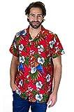 Funky Hawaiian Shirt, Cherry Parrot, Rosso, XXL