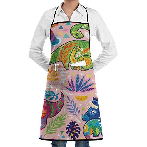 N/Een Fantasie Met Decoratieve Bloemen Dinosaurussen Op Neutraal Roze Behang Keuken Bib Schort schorten Waterdrop Resistant Koken Bakken Crafting BBQ Voor Vrouwen Mannen Met Zakken Aangepast