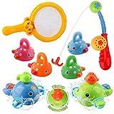BBLIKE - Juguete de baño para bebé, con caña de pescar y red de pesca,...