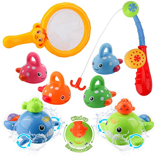 BBLIKE Baby Bath Toys, Mold Free Fishing Toys Set with Wind Up Bath Toys for Fishing Game for Babies 14 Months+ at Bathtub, Pool, 8 Pcs Shower Toys Set