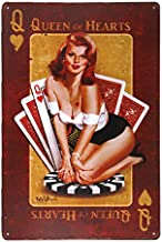 dingleiever-Queen of Hearts Metal Sign Vintage Home Decor pin up Poster Garage Wall Art Rat Rod Stickers