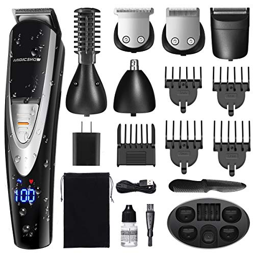 MIGICSHOW Electric Beard Trimmer for Men - Showerproof Hair Trimmer 12 in 1 Grooming Kit for Nose Ear Facial, Mustach, Body Groomer, Hair Clippers with LED Display USB Rechargeable Storage Dock & Bag
