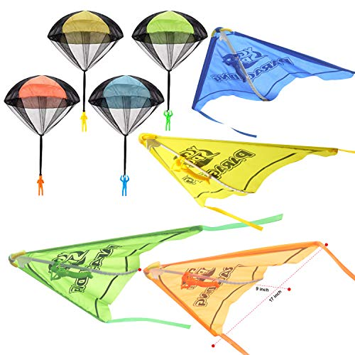 JOYIN 8 Pack 2 in 1 Glider and Parachute Toy Set with Figures, Tangle Free Throwing Hand Throw Flying Toys for Kids Outdoor Play