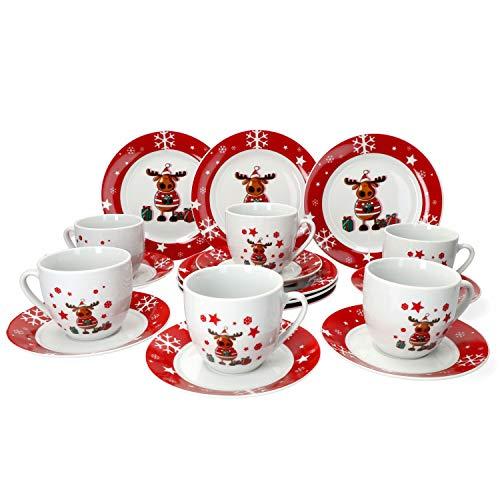 VAN WELL - Servizio da caffè da 18 Pezzi, Decorazione: Alce Natalizia