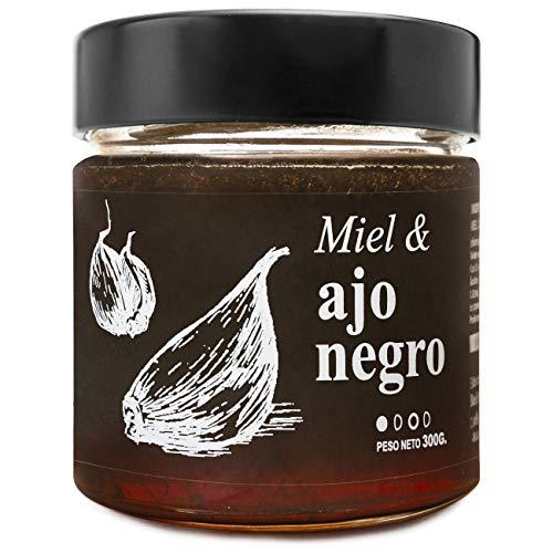 Miel con Ajo Negro - 100{dae136ced091a4dd77a0a85127fe125b9bbc4a4fe6f2806c045e84df0558e19c} Natural Pura de Abeja, Cruda, 300gr - Origen: El Bierzo, España