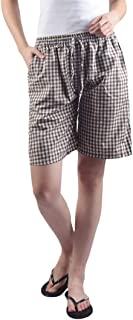 Gemmy Days (16184BR Womens Poly Cotton Bermuda Shorts Casual wear/Gingham Checks Brown.