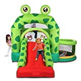 YAYUNLVYIN Outdoor Indoor Bounce House Slide w/Heavy Duty Blower for Kids Extra Thick Material 420D Nylon - Frog Inflatable Castle