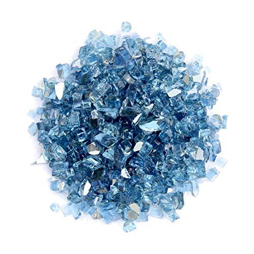 AZ Terrassen-Feuerschale, reflektierendes Glas, ca. 9 kg, Himmelblau