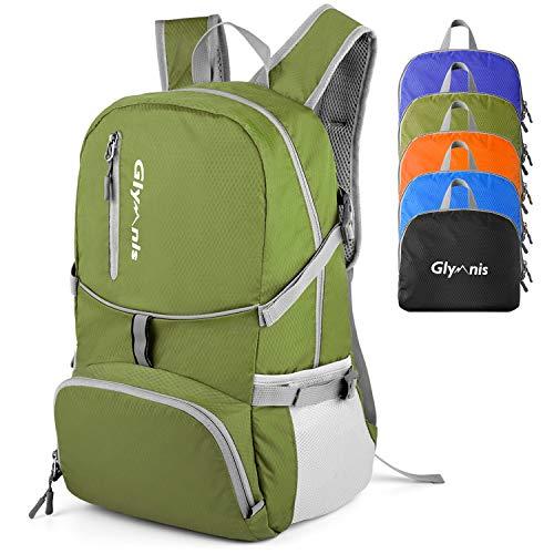 Glymnis 30L Lightweight Foldable Backpack Packable Rucksack Water Resistant Hiking Daypack for Men Women Kids Outdoor Travel School(Army Green)