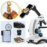 SWIFT デジタル顕微鏡 子供用40X-1000X生物顕微鏡、初心者向け、回転式単眼ヘッド、広視野接眼レンズ10倍にポインター付き、広視野WF10X / 25X接眼レンズ、ガラス光学、手持ち便利、上下光源付き 接眼レンズ10倍対応のスマホアダプター付き、 SW100-SPA-E26