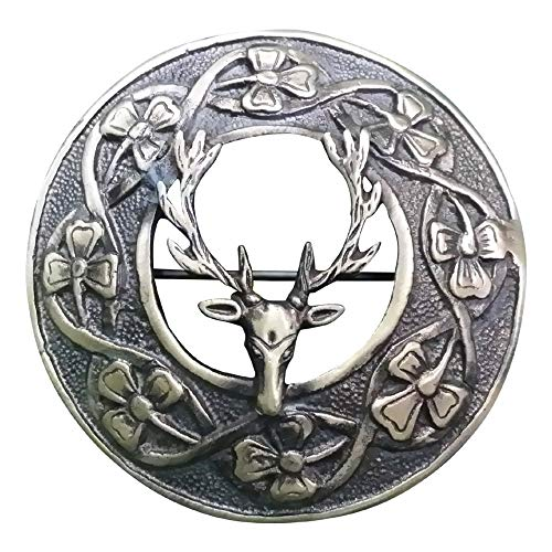 AAR Men,s Scottish Stag Head Kilt Brooch Fly Plaid Antique Finish 3' (7cm) Diameter S