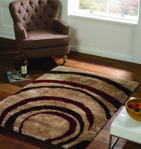 Lord of Rugs Grande Vista Tapis moderne épais et épais Motif cercle Rouge/marron en 3 tailles 160 x 230 cm