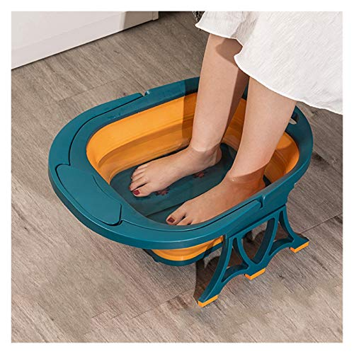 YXCKG Folding Foot Basin, Foot Soaker Tub, Foot Spa and Massager Perfect to Soak Your Feet, Foot Bath Barrel Plastic Wash Basin, Best Gifts, Household Accessories (Color : Blue+Orange)