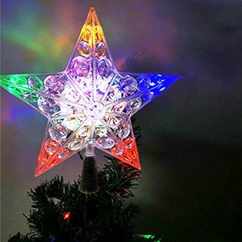 Christmas Tree Top Light Up Star,Christmas Tree Topper Multi-Colour Flash Star Decoration Light Battery Operated Tree Topper ,Durable Replaceable Lamp Lantern Decoration