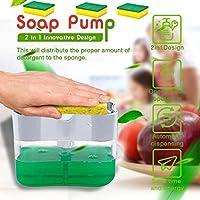 2-in-1台所の流し用の皿せっけんディスペンサースポンジラック食器洗い石鹸ックスとスポンジキャディ