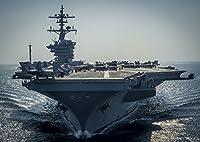 絵画風 壁紙ポスター (はがせるシール式) 空母 ロナルド・レーガン USS アメリカ 海軍 航空母艦 ミリタリー キャラクロ UNAC-007A1 (A1版 830mm×585mm) 建築用壁紙+耐候性塗料