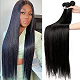 8-34 36 38 40 Inch Brazilian Hair Weave Bundles Straight 100% Human Hair 3 Bundles Natural Color Remy Hair Extensions(20 20 20, black bundles)