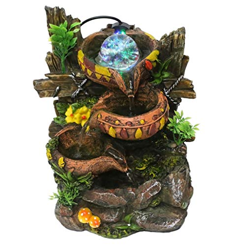 xiaokeai Fuentes Decorativas Fuente de Resina Creativa Fuente de Flujo de Escritorio Interior Manualidades de decoración de Oficina en el hogar Cascada Fuente