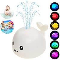 Agedate Whale Automatic Spray Water Bath Toy with LED Light (Snow White)