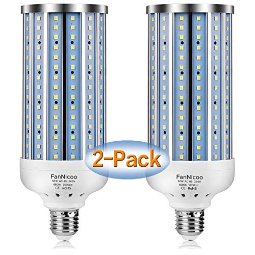 2 Pack 500W Equivalent LED Corn Light Bulb 5000 Lumen 6500k 50W Large Area Cool Daylight White E26/E27 Medium Base for Outdoor Indoor Garage Warehouse Factory Workshop Street Backyard New Upgraded
