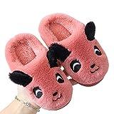 TWW Eltern-Kind-Kinder-Baumwollpantoffeln für Jungen und Mädchen nach Hause pelzige Schuhe Indoor-Kinder warme Schuhe Winter rutschfeste Baumwollschuhe Baby,Watermelon red,30 31