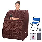 Portable Personal Sauna2L Home Steam Sauna Tent Folding Indoor Sauna Spa Weight Loss Detox with Remote Control, Timer, Foldable Chair (Coffee)