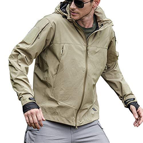 Chaqueta con capucha para exteriores, impermeable, con 7 bolsillos con cremallera, transpirable, ligera, resistente al agua, la suciedad y el aceite