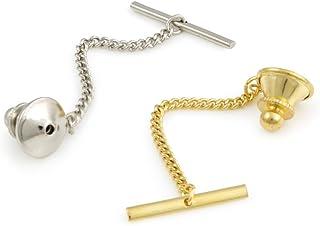 Tie Tack Clutch با مجموعه زنجیره ای - یک رنگ نقره ای و یک رنگ کراوات طلایی یک عقب با زنجیر و نوار