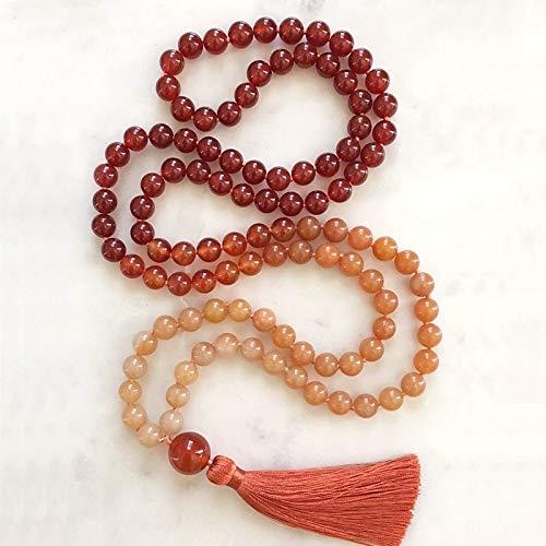 Mala 108 Perlen Halskette Orange Aventurin Geknotete Halskette Mit Seide Quaste Chakra Schmuck Yoga Halsketten Für Freundin