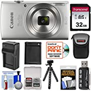 Canon PowerShot Elph 180 Digital Camera with 32GB Card + Case + Battery & Charger + Flex Tripod + HDMI Cable + Kit