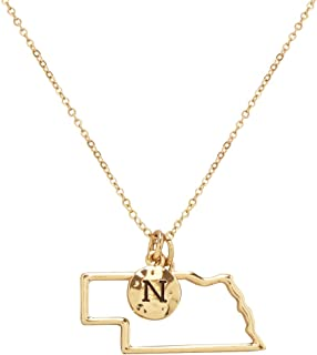 Elosee State Map Cutout Necklace 18 Inch