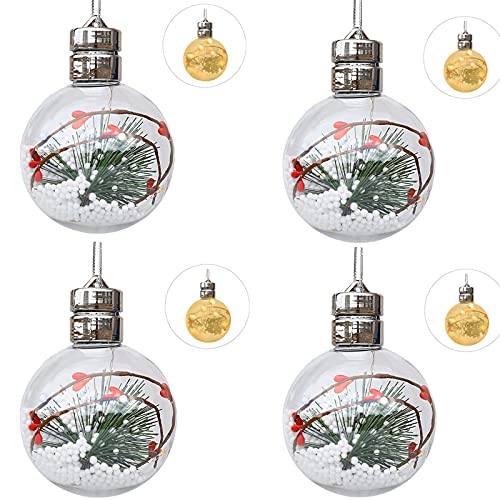 4 adornos de bolas de Navidad, 4.7 pulgadas de acrílico transparente LED bola de Navidad adorno relleno con aguja de pino Berry y nieve colgante decorativo bolas de Navidad colgante luz amarilla