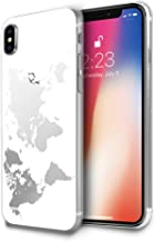 HELLO GIFTIFY Compatible with iPhone Xs Max Case, White Map Designed on Clear Soft TPU Gel Case for iPhone Xs Max 6.5 inch...