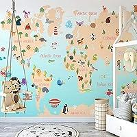 SDSXT 3D写真の壁紙手描きの動物植物海英語アルファベット子供部屋寝室インテリア壁画,350cm(W)x285cm(H)