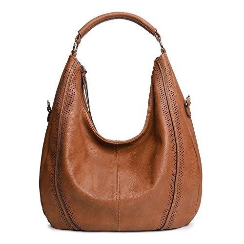Soye Damen-Handtaschen, Hobo-Taschen, Schultertasche, großes Fassungsvermögen, PU-Leder, Hellbraun